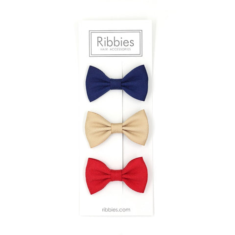 Set Of 3 Bow Tie Hair Clips - Red, Gold and Navy