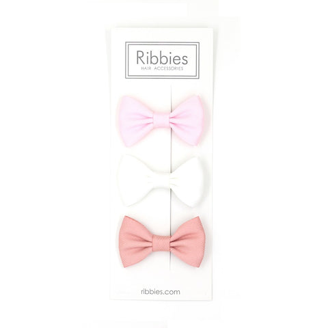 Set Of 3 Bow Tie Hair Clips - Pastel