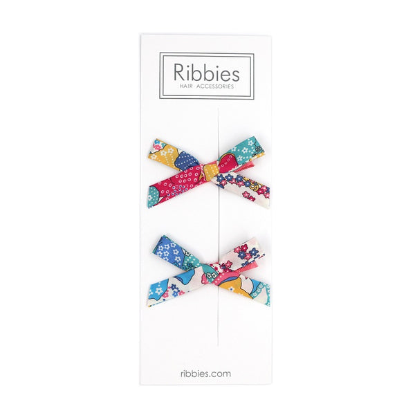 Liberty of London Schoolgirl Bows - Mauvey Turquoise Pink and Yellow