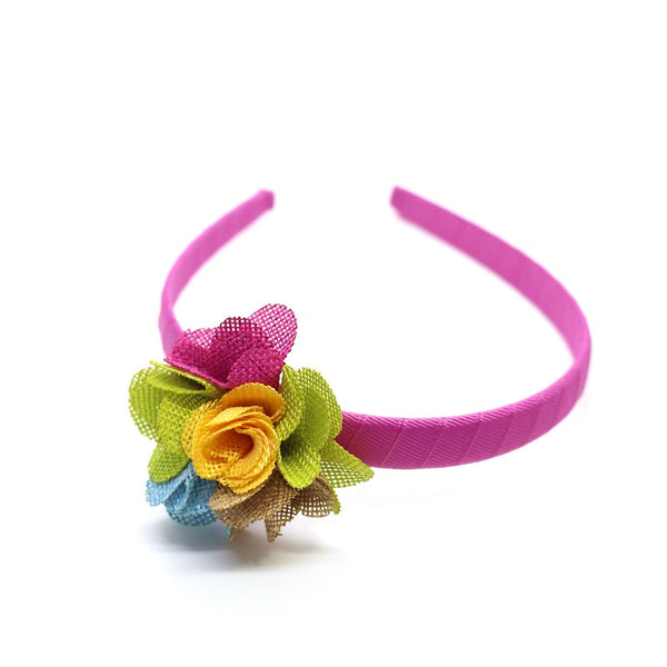 Multi Color Linen Flower Headband - Pink