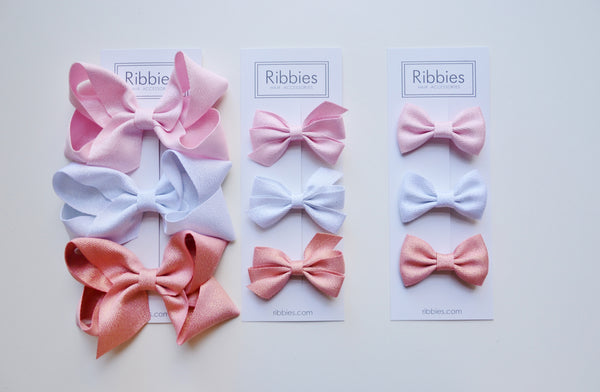 Extra Large Sparkly Hair Bows - Pastel - Set of 3