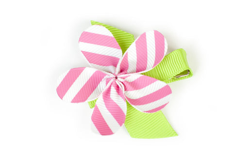 Allie Pink White Diagonal Flower Hair Clip