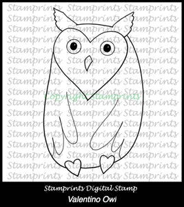 Valentino Owl (TLS-1718) Digital Stamp. Cardmaking.Scrapbooking.