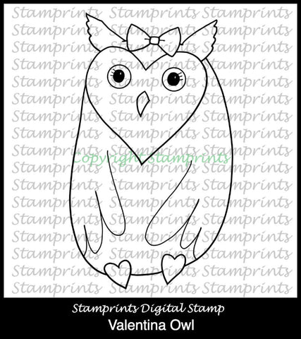 Valentina Owl (TLS-1722) Digital Stamp. Cardmaking.Scrapbooking.