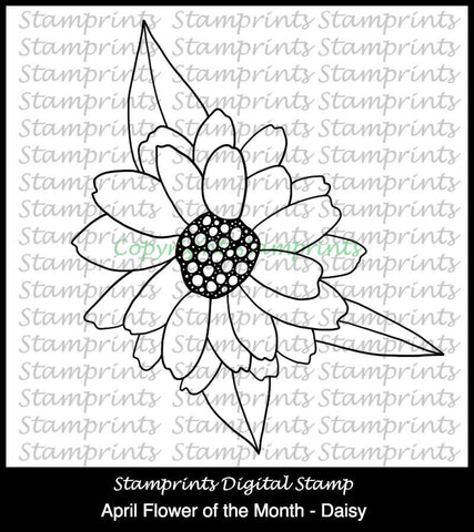 April Flower of the Month - Daisy (TLS-1802) Digital Stamp. Cardmaking