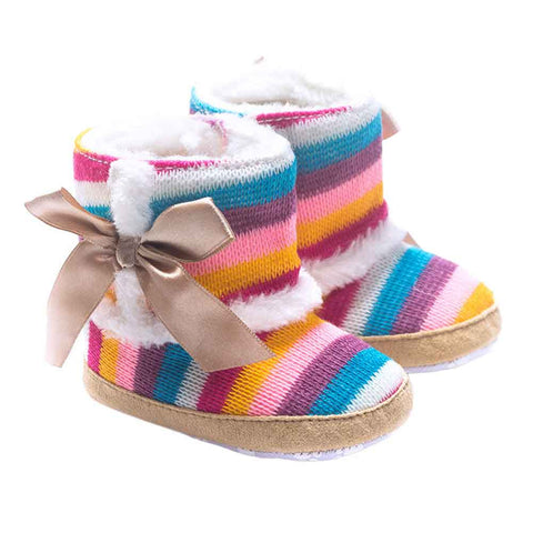 Baby Girls Rainbow Soft Sole Snow Boots Soft Crib Shoes stripe Girls Boots baby shoes bow-knot baby boots for girl