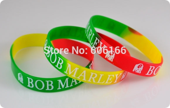 50x BOB MARLEY Jamaica Rasta Reggae Punk Hiphop Silicone Bracelet red yellow green wristband Fashion jewelry