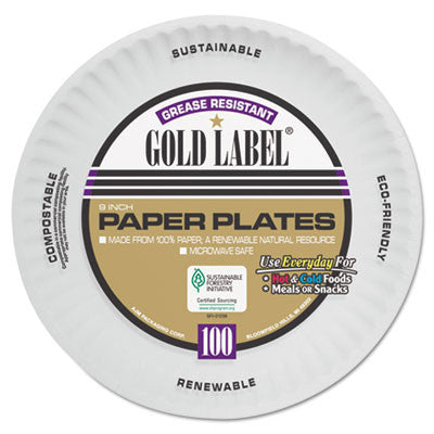 Coated Paper Plates, 9 Inches, White, Round, 100/Pack