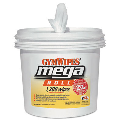 Gym Wipes Mega Roll Wipes Bucket, 8 x 8, White, 1200 Wipes/Bucket