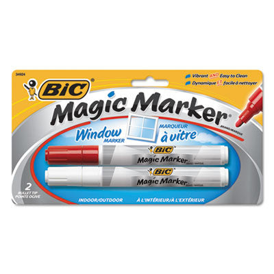 Magic Marker Brand Window Markers, Bullet, Red/White