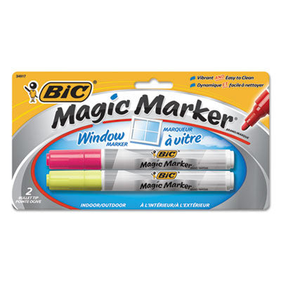 Magic Marker Brand Window Markers, Bullet, Yellow/Pink