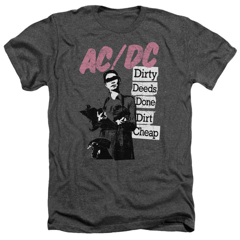 AC/DC Special Order Dirty Deeds Men's 30/1 Heather 60% Cotton 40% Poly Short-Sleeve T-Shirt