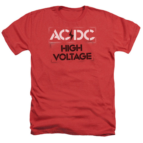 AC/DC Special Order High Voltage Stencil Men's 30/1 Heather 60% Cotton 40% Poly Short-Sleeve T-Shirt