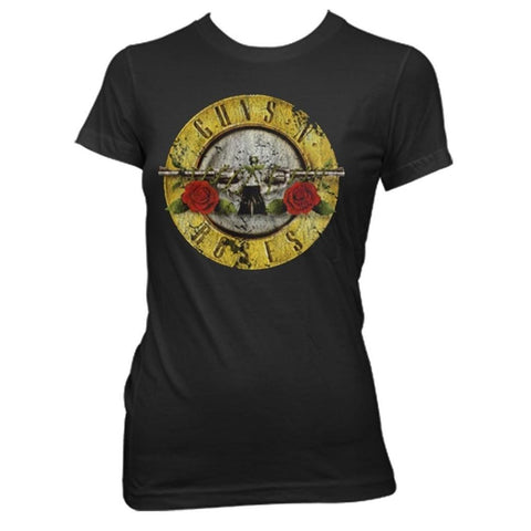 Guns N Roses Distressed Bullet Women's Fitted T-Shirt