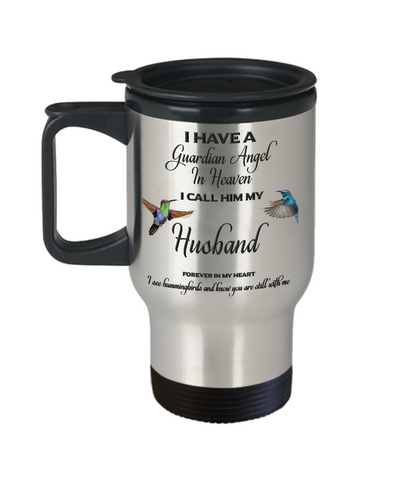 Husband Memorial Gift Guardian Angel in Heaven Husband Spouse Remembrance Travel Mug Gifts