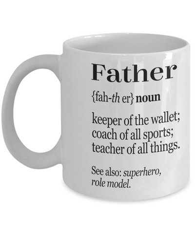 Father Definition Mug Happy Fathers Day Birthday Gifts For Dad Papa Daddy