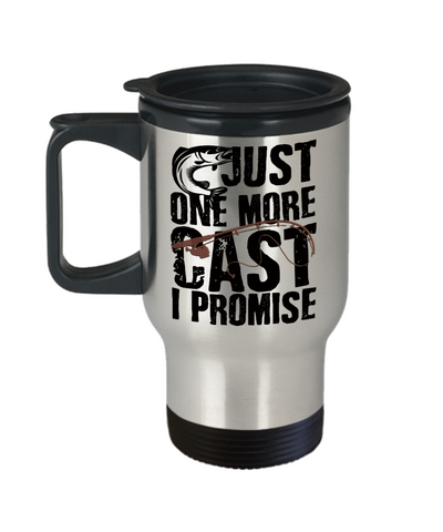Just One More Cast I Promise Fishing Addict Insulated Travel Mug With Lid Fisherman  Gift for Fish Loving Husband Boyfriend Wife Girlfriend Novelty Birthday 14oz Coffee Cup