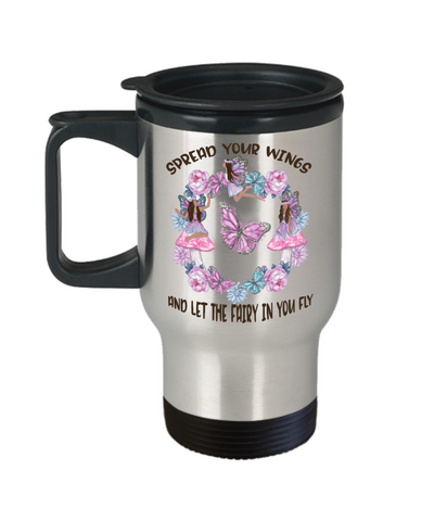 Spread Your Wings and Let The Fairy in You Fly Travel Mug Gift for Brown Skinned Fairies Inspirational Graduation Birthday Cup