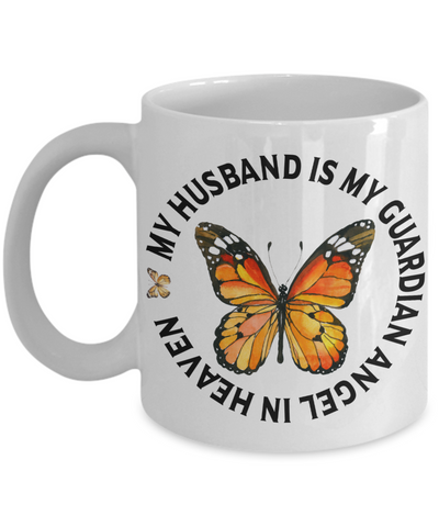 My Husband is My Guardian Angel in Heaven Memorial Mug In Loving Memory Gift Ceramic Coffee Cup
