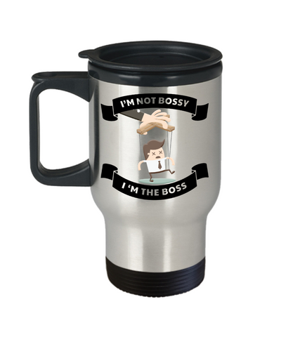 I'm Not Bossy I'm The Boss Travel Mug Employer's Day Gift Occupational Novelty Birthday Coffee Cup