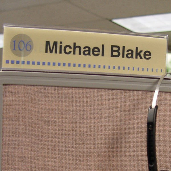 10 in. x 2 in. DOUBLE-SIDED OFFICE CUBICLE NAMEPLATE SIGN FRAME