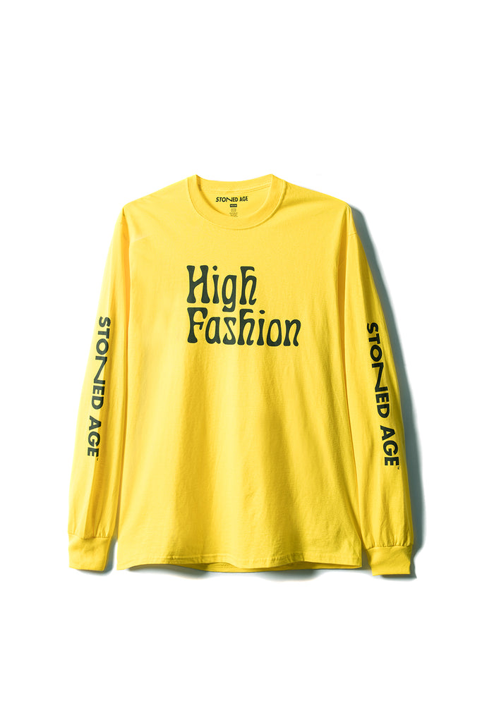 STONED AGE | HIGH FASHION Long Sleeve Tee Shirt - Yellow (front)