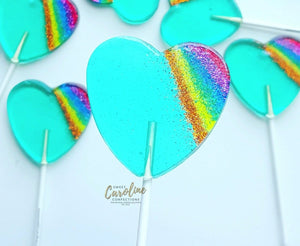 Aqua Rainbow Sparkle Lollipops - Set of 6 - Sweet Caroline Confections | The Original Sparkle Lollipops