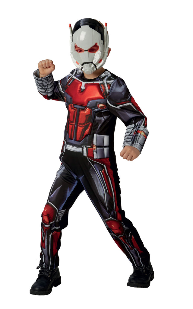 This childs Ant-Man costume includes a red and black jumpsuit and mask.