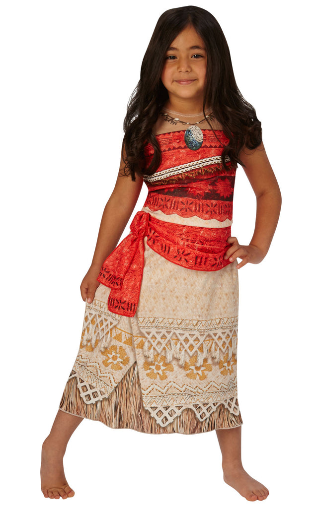This child's Classic Moana Costume features a front-printed dress with printed necklace and attached sash.