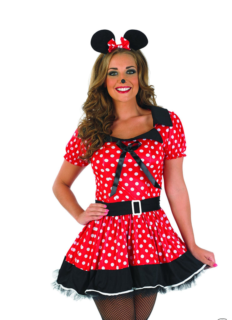 Ladies Missy Minnie Mouse fancy dress costume.