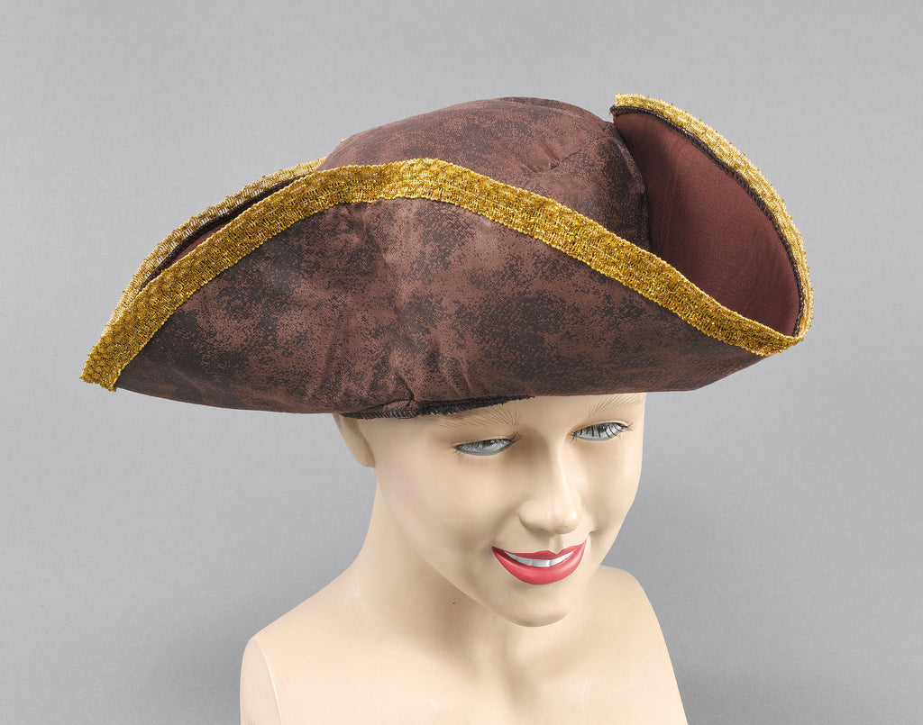 Pirate Brown & Gold Tricorn Hat