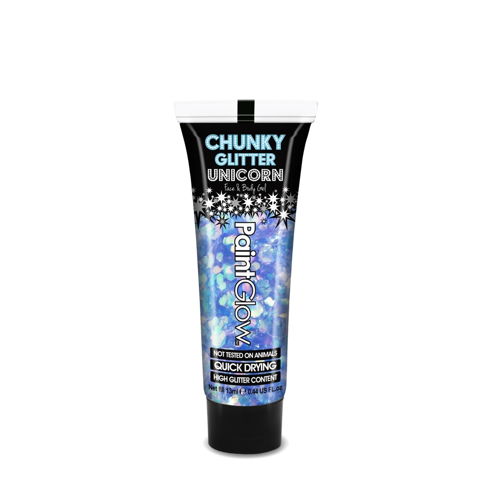 Feel the need to top up your glitter look on the move? PaintGlow Mystic Mermaid Unicorn Chunky Glitter Gels come in a handy 13ml tube that's small enough to hide in any handbag but big enough to make any statement.
