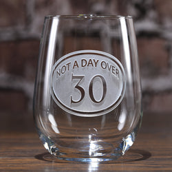 Engraved 30th Birthday Stemless Wine Glass