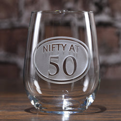Engraved 50th Birthday Stemless Wine Glass