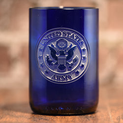 Army Soldier Gift, Engraved Blue Wine Bottle Glass