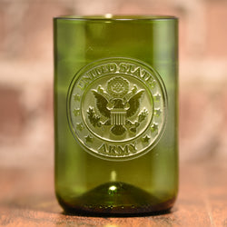 Army Soldier Gift, Engraved Green Wine Bottle Glass