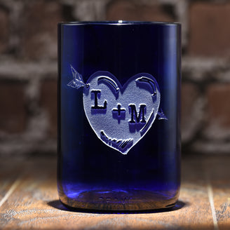 Blue Recycle Wine Bottle Glass, Engraved Heart Arrow Tumbler