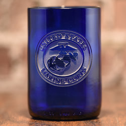 Marines Gift, Engraved Recycled Blue Wine Bottle Glass