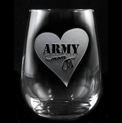 Army Mom Stemless Wine Glass