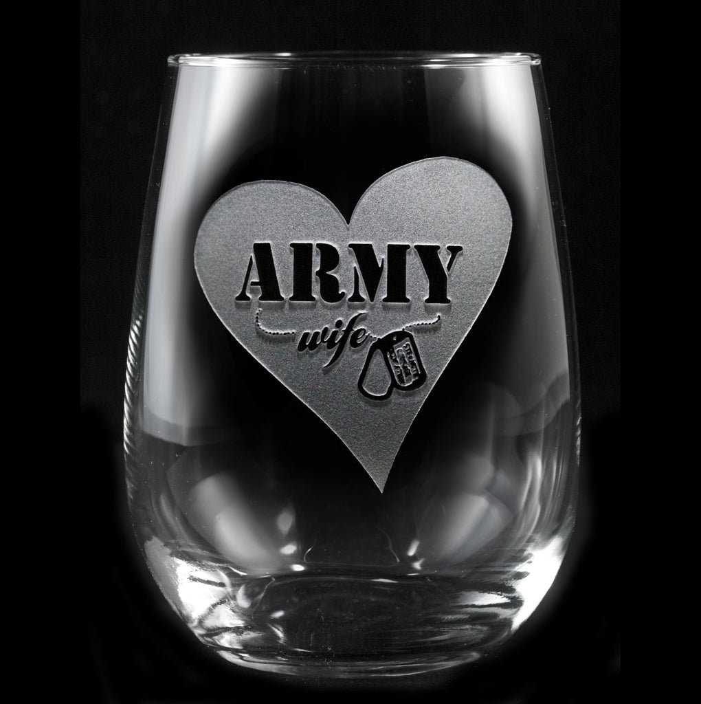 Army Wives Stemless Wine Glass