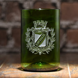 Coat of Arms Green Recycle Wine Bottle Glass Tumbler