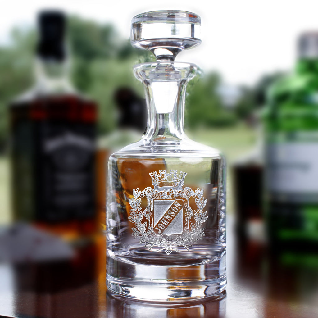 Personalized Engraved Crest on Whisky Decanter