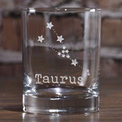 Constellation Zodiac Sign Engraved Rocks Whiskey Glass