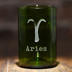 Zodiac Sign Engraved Green Recycled Wine Bottle Glass