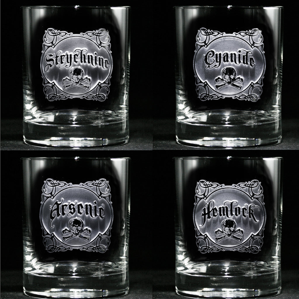 Engraved Name Your Poison Whiskey Scotch Glass Set. Arsenic. Cyanide