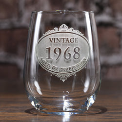 Custom Engraved Vintage Year Stemless Wine Glass