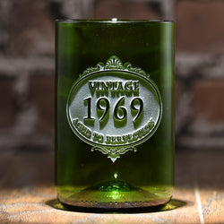 Engraved Birthday Gift Green Recycled Wine Bottle Glass Tumbler