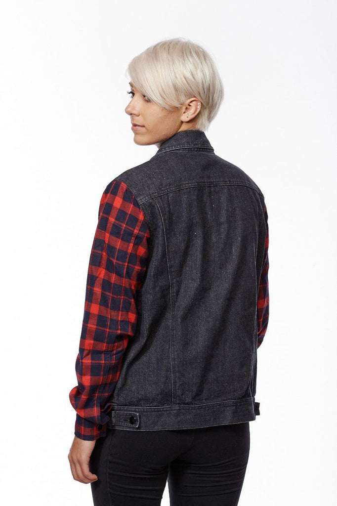Plaid Denim Oversized Jacket