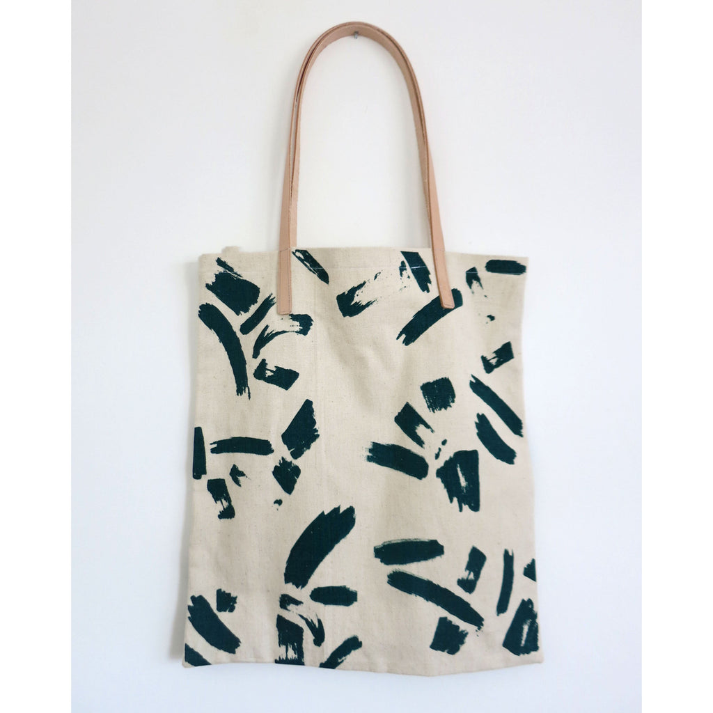 Hemp Tote with Leather Handle - Emerald Paint