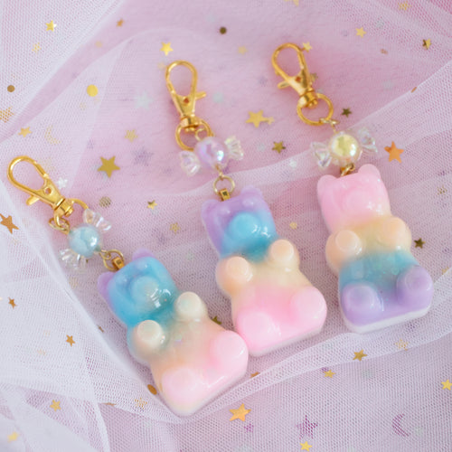 Pastel Rainbow Gummy  Bear Charms